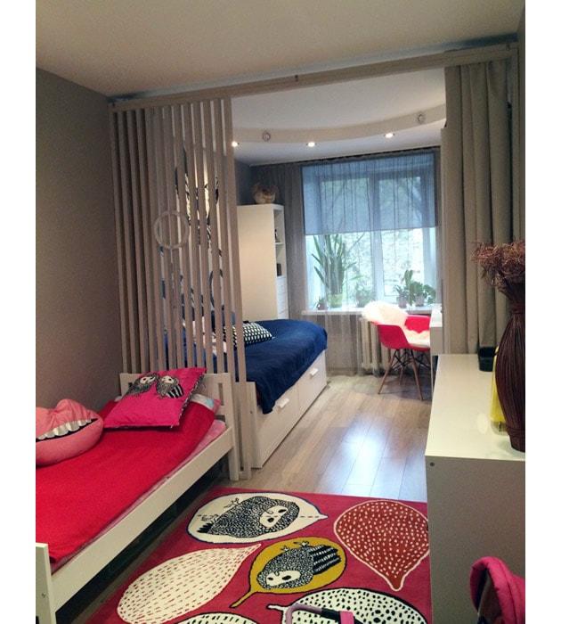 Вариант зонирования детской окмнаты
