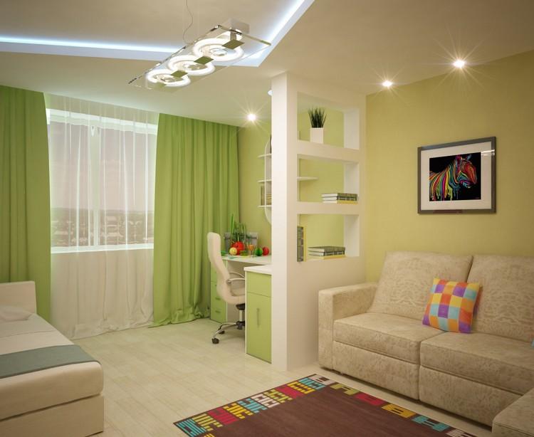 салатово-бежевое сочетание цветов в комнате