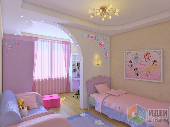 комната для девочки в оттенке лаванда