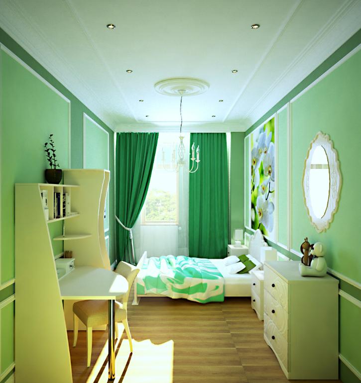 комната девочке в зеленом цвете