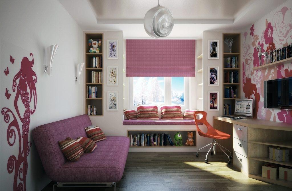 комната в розовом оттенке