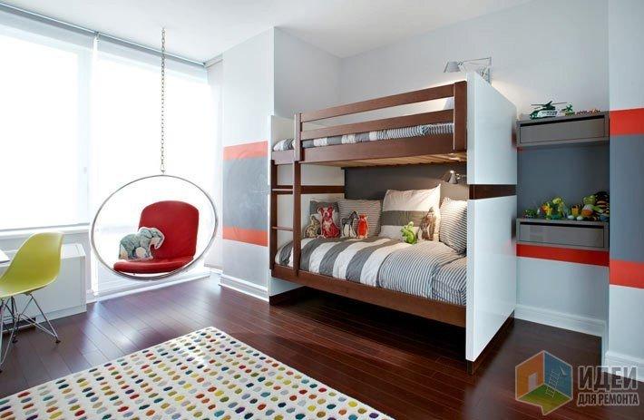 спальня для вдоих мальчиков с двухъярусной кроватью