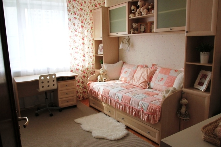 персиковый цвет комнаты для девочки