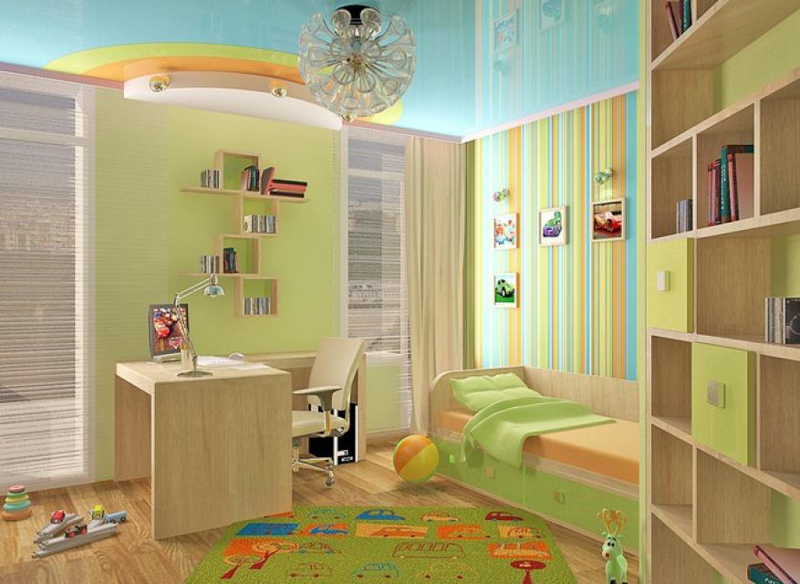 детская комната в бежевом цвете с зеленым дополнением