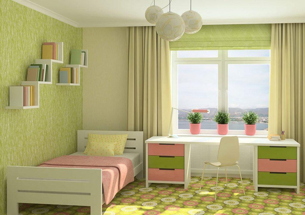 спальня зеленый с бежевым