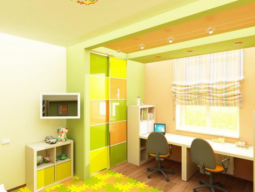 детская комната в зелено-бежевой гамме