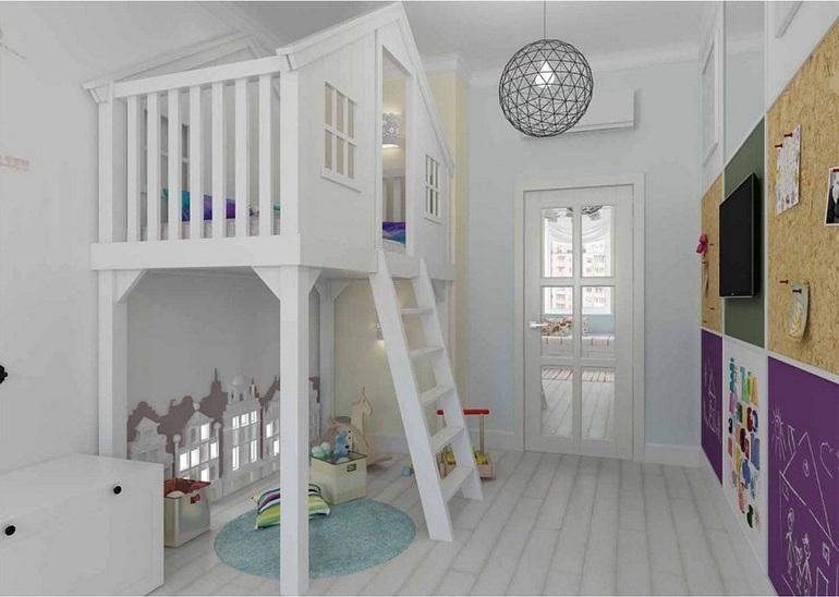 высокая белая кровать-домик