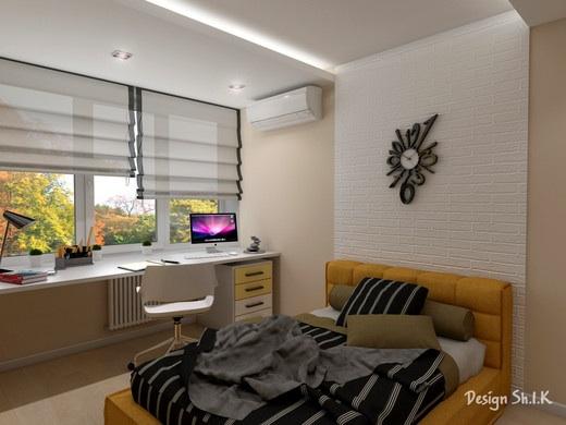 дизайн комнаты со столом подоконником
