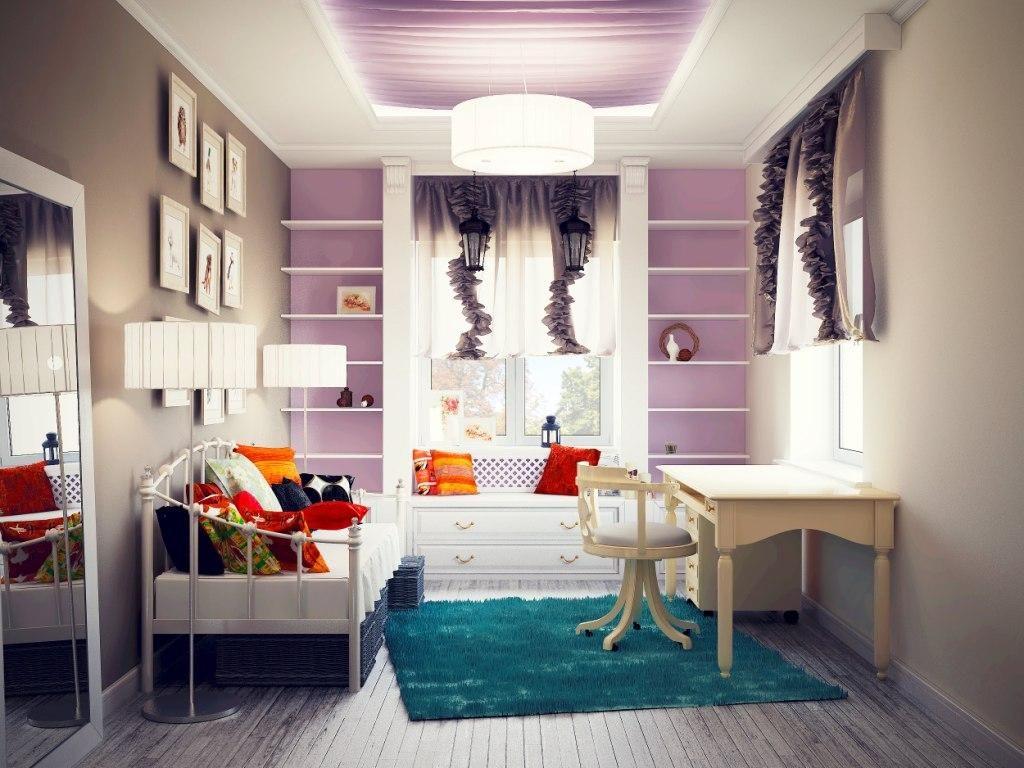 комната для девочки в фиолетовом цвете