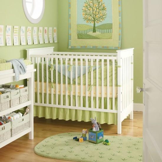 оливковый цвет в интерьере детской