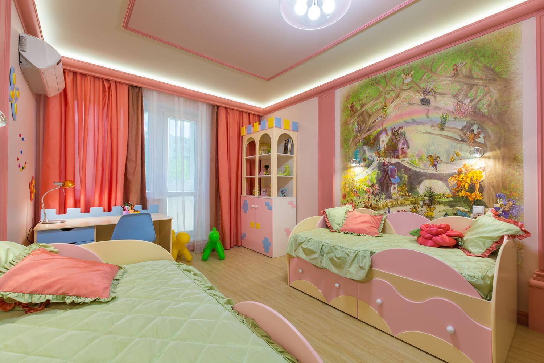 Интерьер детской спальни для двух девочек фото