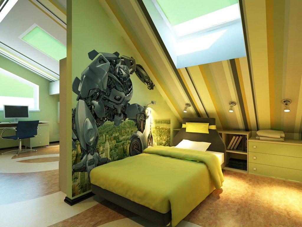 комната в оливковом цвете